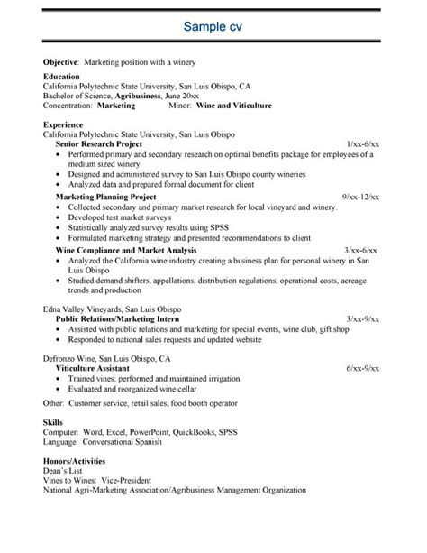 free sle agricltural resume exle