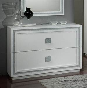Commode Blanc Laqué : commode 2 tiroirs krystel laque blanc ~ Teatrodelosmanantiales.com Idées de Décoration
