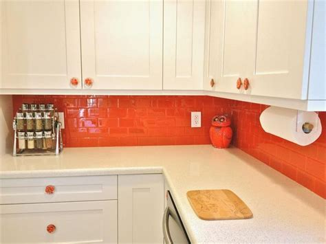 orange kitchen tiles lush 3x6 poppy orange glass subway tile tiles for 1220