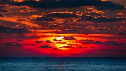 Sunset Sea Water Orange Sun Ocean Down