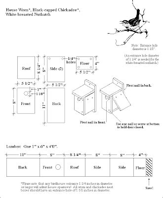 ashleys acres birdhouse plans  wrens chickadees  nuthatches