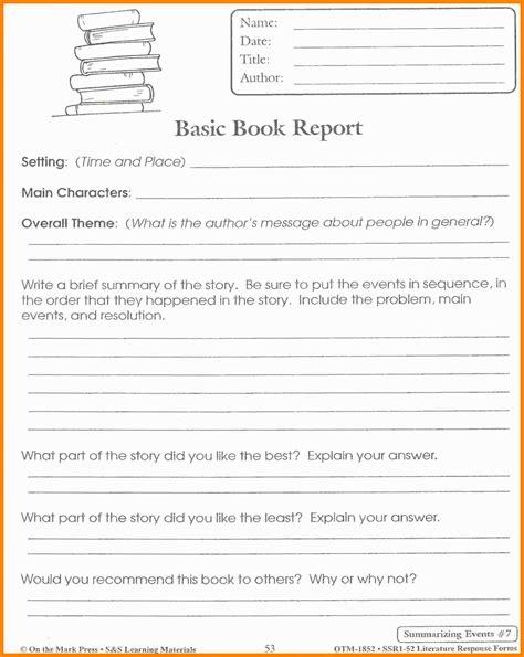 Book Report Template 10 Book Report Template 5th Grade Dialysis