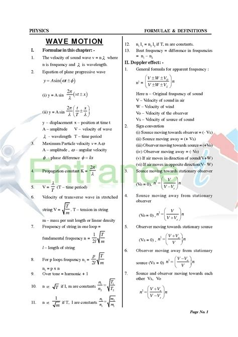 formula booklet physics class  chapter wave motion