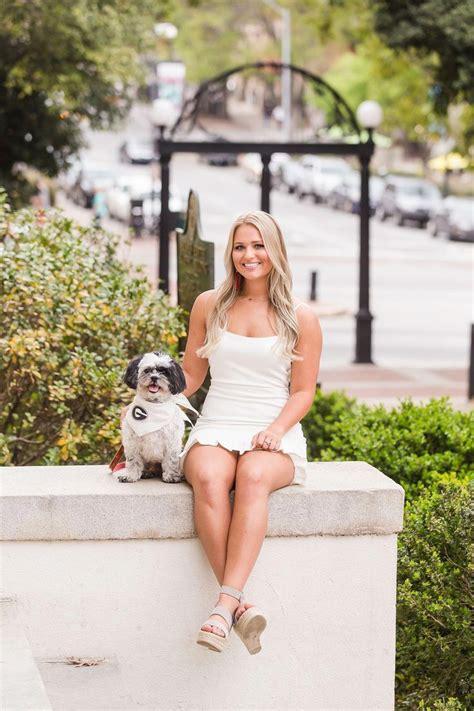 Uga Arch Senior Graduation Portrait With Dog Athens