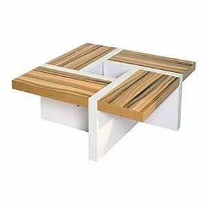Table Basse Moderne : rebecca srl table de salon table basse bois marron blanc design moderne sejour lounge cod re4803 ~ Preciouscoupons.com Idées de Décoration