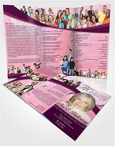 obituary template trifold brochure pink faith wisdom With obituary pamphlet template