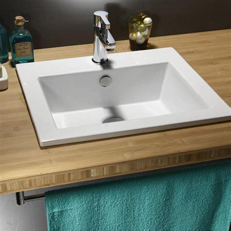 table de cuisine carree vasque à encastrer céramique l 50 x p 43 cm blanc keo