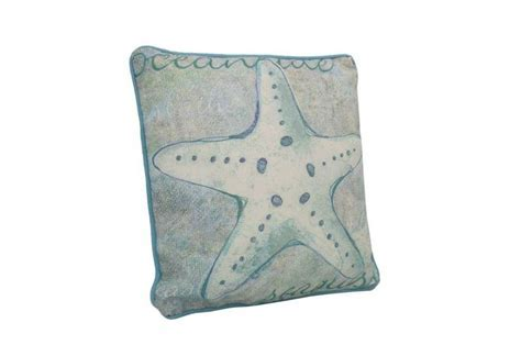 Blue and White Starfish Decorative Throw Pillow