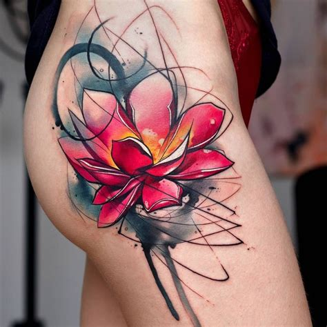 watercolor tattoo abstract lotus flower tattooviral