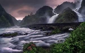 Nature, Landscape, Waterfall, River, Mountain, Ferns