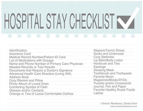 Hospital Stay Checklist Stress Relief Pinterest