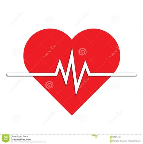 Heart Rate Icon - Health Monitor. Red Heart Rate.Blood