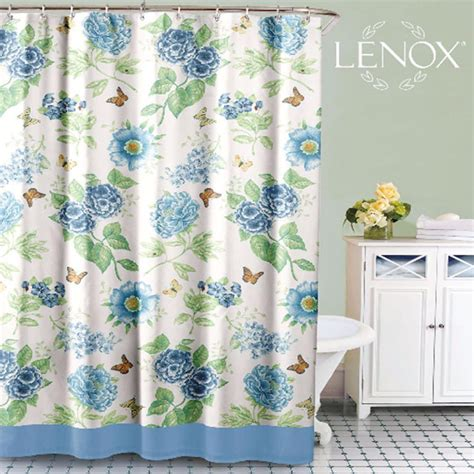 Drapery Cloth by Blue Floral Garden Fabric Shower Curtain By Lenox