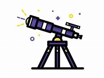 Telescope Dribbble Process Icon Galileo Graphic Astronomy