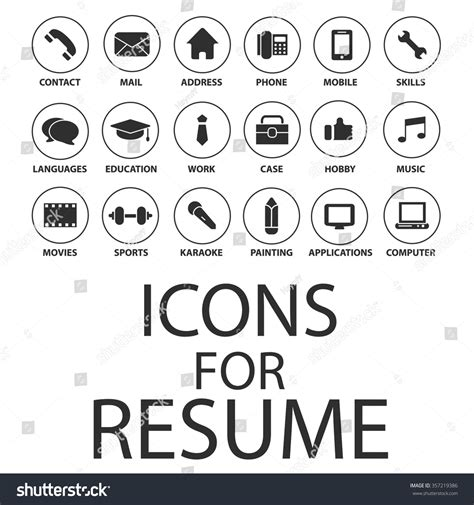 free resume icons for word icons set your resume cv stock vector 357219386