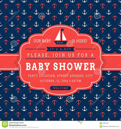 nautical baby shower card stock vector image