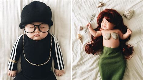 Mom dresses up baby while she naps, and the results are