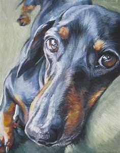 Dachshund art canvas print of dog painting by LA Shepard 11x14