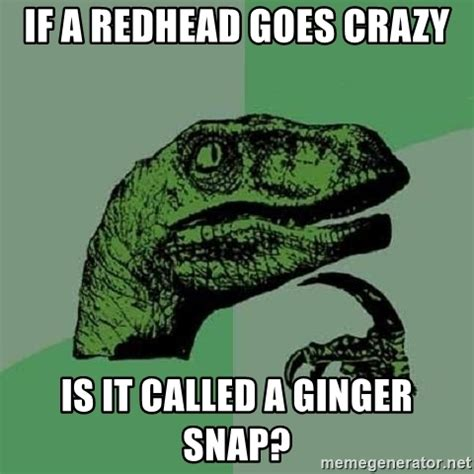 Ginger Snap Meme - if a redhead goes crazy is it called a ginger snap philosoraptor meme generator