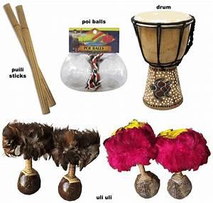 Hula Dance Instruments: Uli Uli, Puili, Poi Balls, Drum