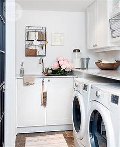 Small White Laundry Room with Sink - Contemporary