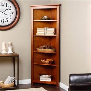 Finley Home Redford Corner Bookcase - Oak - Finally, the