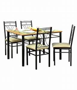 FurnitureKraft 4 Seater Dining Set - Wooden Top Table