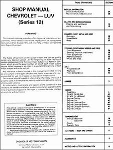 1982 Series 12 Chevy Luv Repair Shop Manual Original