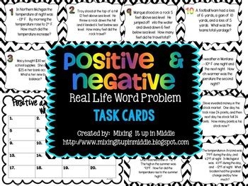 positive  negative integer word problem task cards