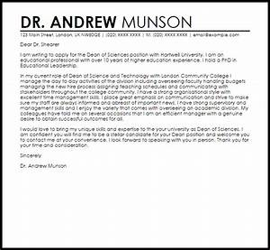 dean of students cover letter sample cover letters - Gidiye ...