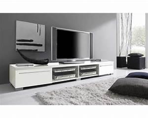 Meuble Bas Blanc Laqué : meuble tv bas blanc laque maison design ~ Edinachiropracticcenter.com Idées de Décoration