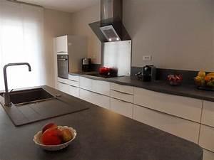 Cuisine Blanche Plan De Travail Gris : realisation 45 moble ~ Melissatoandfro.com Idées de Décoration