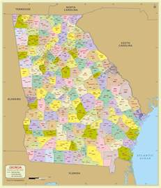Georgia County Map with Zip Codes