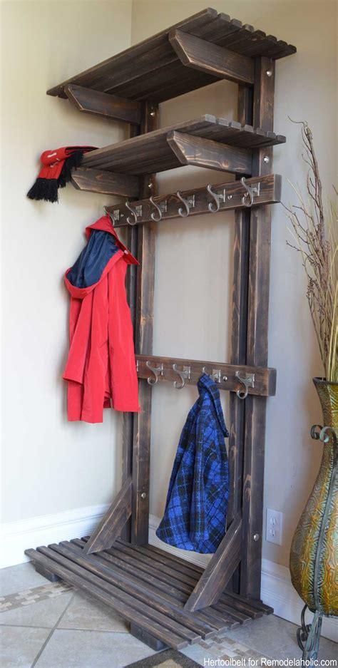 entryway organizer coat rack mail storage coat hooks and key rack wall mounted floating shelf remodelaholic diy tree coat rack inspired by