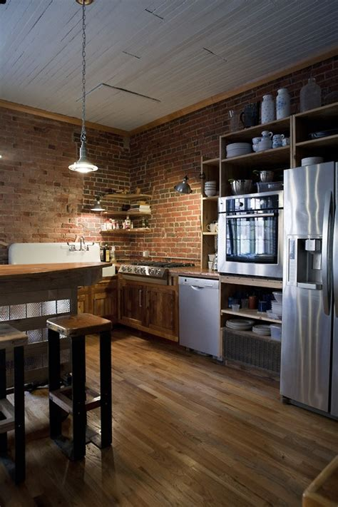 brick cuisine modern furniture traditional kitchen with brick walls