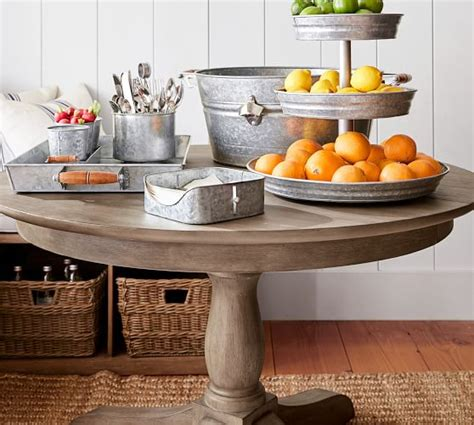 pottery barn kirkwood dining table owen extending pedestal dining table weathered gray