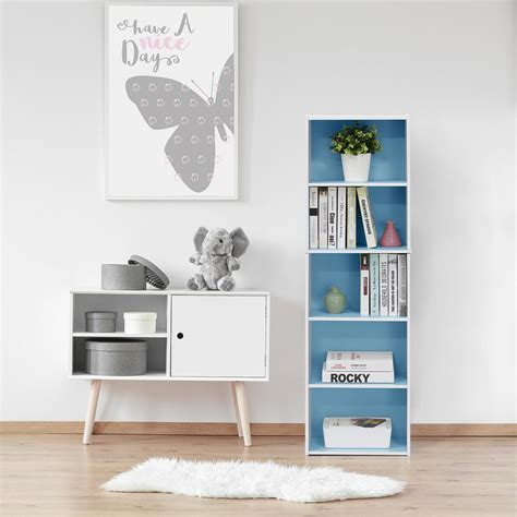 Blue Bookcase by Furinno White And Light Blue 5 Tier Reversible Color Open