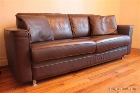 canap 233 lit cassiop 233 e steiner cuir marron 3 places a vendre