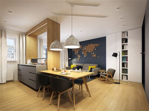 Modern Scandinavian Apartment Interior Design With Gray Color Shade - RooHome   Designs & Plans