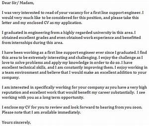 First line support engineer cover letter example for Best opening lines for cover letters