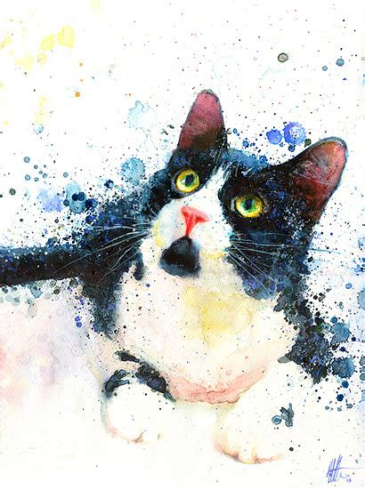 Abstract Black Cat Watercolor by Tuxedo Cat Print From Original Cat Prints