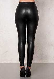 Pieces New Shiny Leggings Black - Bubbleroom