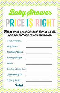 printable baby shower games the girl creative With free printable price is right baby shower game template