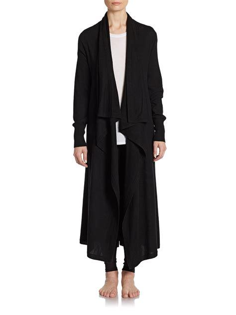 sweater robe donna karan wool blend sweater robe in black lyst