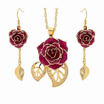 Rose Gold Jewelry Purple Theme Leaf Earring