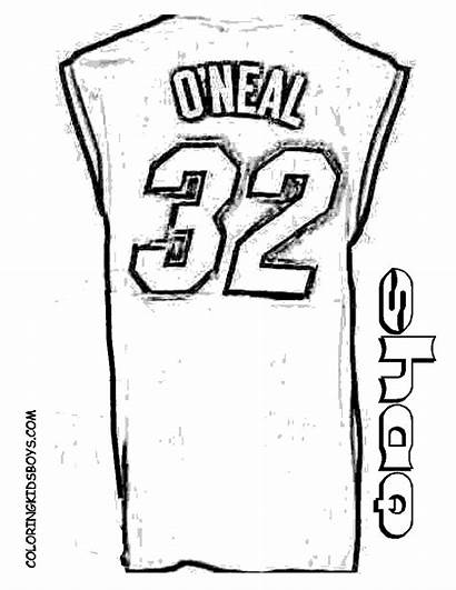 Coloring Basketball Jersey Shaq Nba Printable Boys
