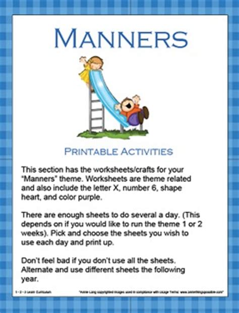manners worksheets  crafts   learn curriculum tpt