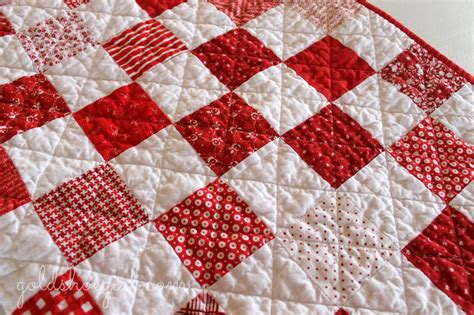 Gold Shoe Girl Red & White Patchwork Quilt