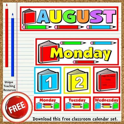 free printable august classroom calendar for school teachers