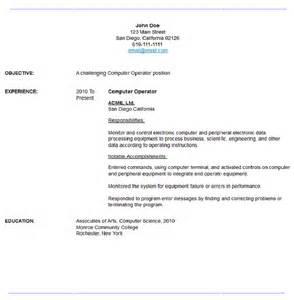 computer operator resume word format sle computer operator resume resume maker resume software